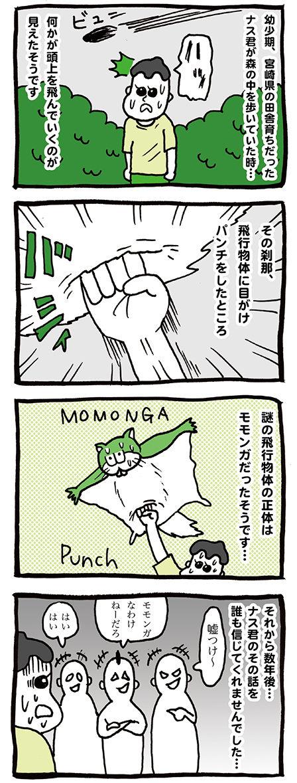 野生のモモンガにパンチ