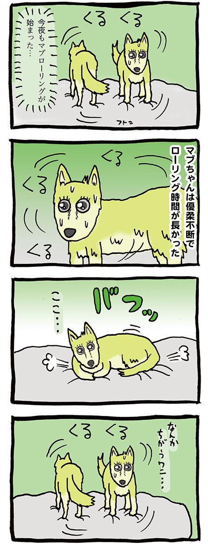 寝る時クルクル回る犬のマンガ