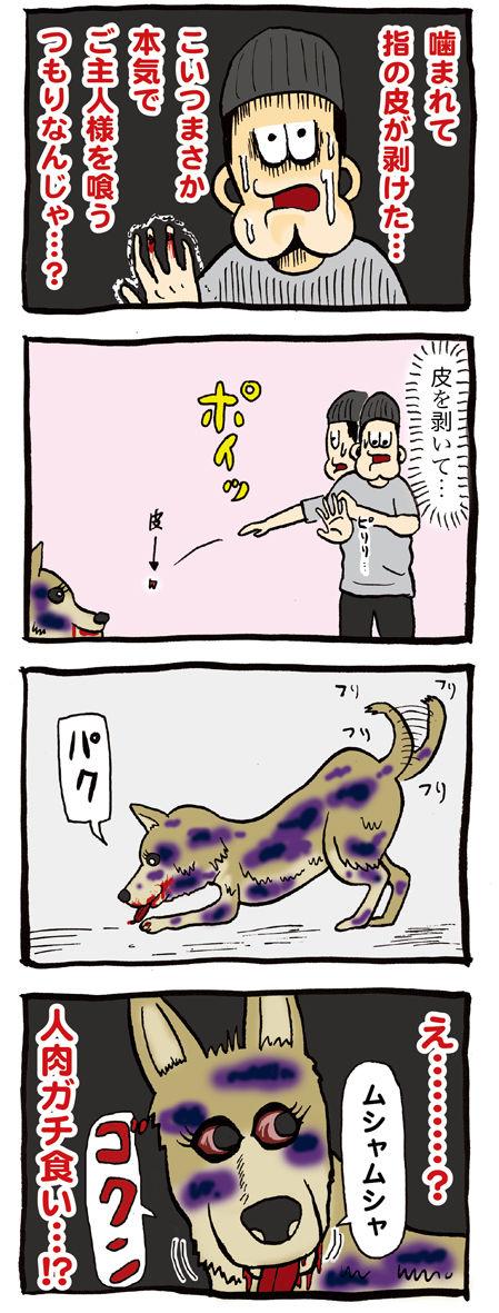 ゾンビ犬に餌をあげる飼い主